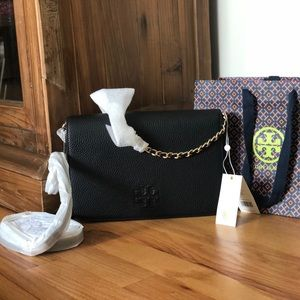 Tory Burch THEA CLUTCH pebbled black leather